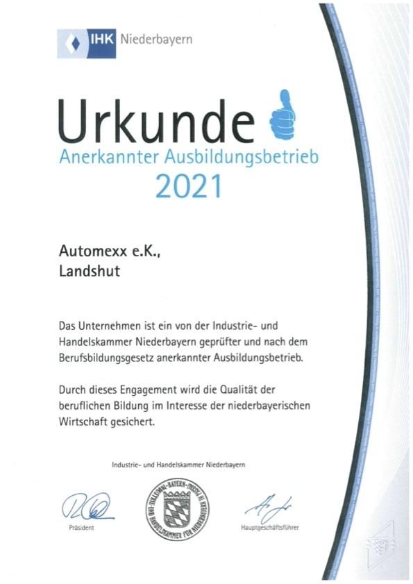 2021: Urkunde von der IHK als zertifizierter Ausbildungsbetrieb